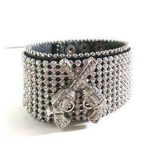 Guns and rhinestones cuff bracelet black leather